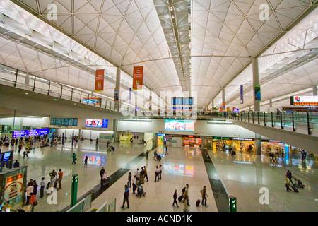 Departures Hall Hong Kong International Airport HKG - Stock Photo