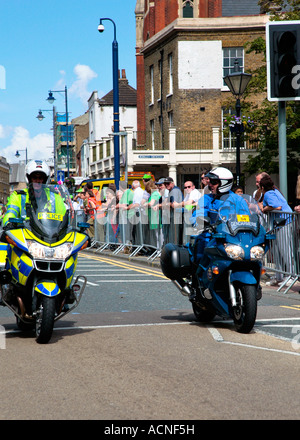 British police and french gendarme police motocycle escort riders passing through Gravesend Kent during the 2007 - Stock Photo