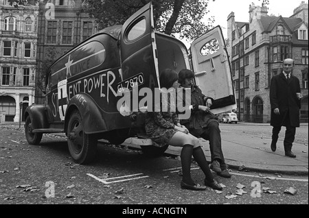 Grosvenor Square  Silent Power demonstrators Anti Vietnam War demonstration outside American Embassy London  1968 - Stock Photo