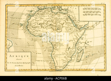 Map of Africa circa 1760 - Stock Photo