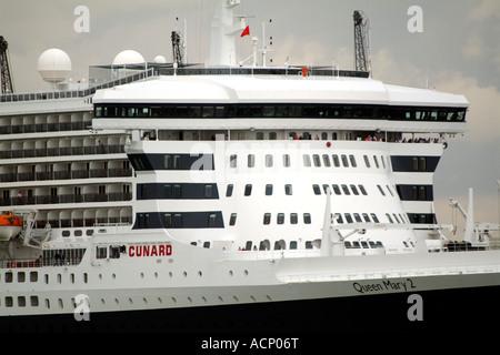 The Queen Mary 2 Cunard cruise ship Bridge and cabins Southampton England UK - Stock Photo