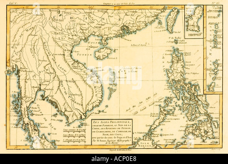 Map of The Philippines circa 1760 - Stock Photo