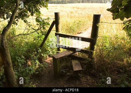 Stile on footpath near Whitegate Vale Royal Cheshire - Stock Photo