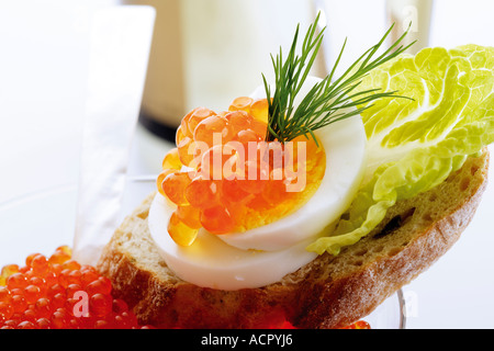 Caviar appetizer - Stock Photo