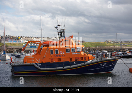 Portrush lifeboat Katie Hannan Severn class largest in the RNLI fleet moored in portrush harbour - Stock Photo