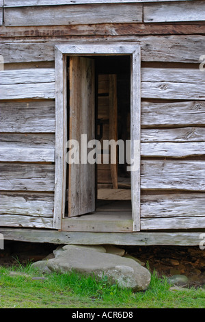 The door way to the Ephrain Bales cabin in Roaring Fork Great Smoky Mountains National Park - Stock Photo