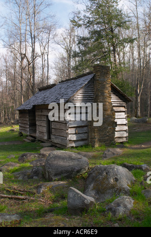 The Ephrain Bales cabin in Roaring Fork section of Smoky Mountain National Park in early spring  - Stock Photo