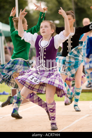 Traditional Scottish dancing young girls Highland Dancing at Langholm Common Riding at Langholm Eskdale Scotland - Stock Photo