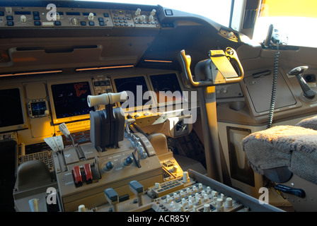 Cockpit panel of Boeing 777 aircraft, showing instrumentation dials and control yokes - Stock Photo