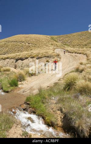 Mountain Bikers Carrick Track Carrick Range Central Otago South Island New Zealand - Stock Photo
