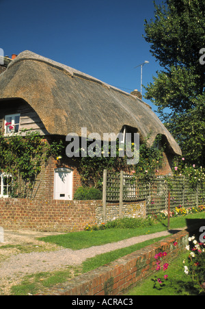 Thatched Cottage at Cheriton Hampshire England - Stock Photo