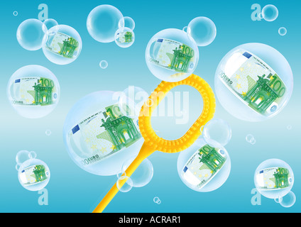 soap bubbles with 100 Euro Seifenblasen mit 100 Euro - Stock Photo