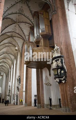 Floral Ceiling Mechanical Organ Marienkirche Lübeck Germany - Stock Photo
