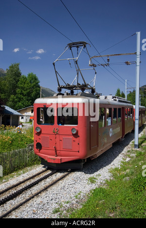 Narrow gauge Montenvers train on its way to the 'Mer de Glace' Glacier, France - Stock Photo