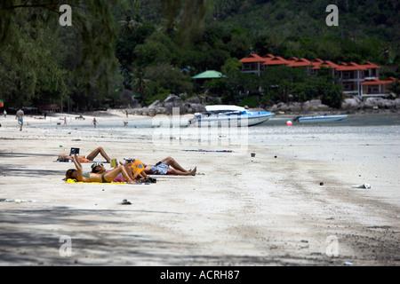 Hat Sai Ri beach Ko Tao island Thailand - Stock Photo