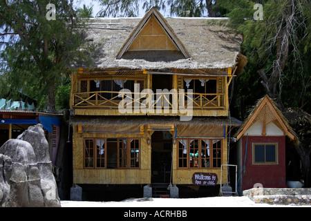 Bamboo veneer Orchid Spa building Hat Sai Ri beach Ko Tao island Thailand - Stock Photo