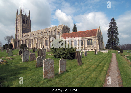 Long Melford The Great Church Of The Holy Trinity and part of graveyard - Stock Photo