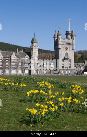 Royal Balmoral Castle at Crathie on the Balmoral Estate in Aberdeenshire, Scotland uk - Stock Photo