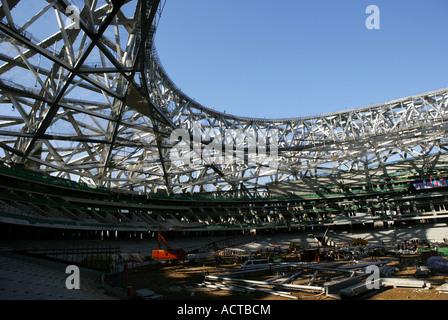 inside construction site of National Stadium,'Nest',Beijing,China - Stock Photo