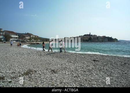 Beach in Primosten Adria Dalmatia Croatia - Stock Photo
