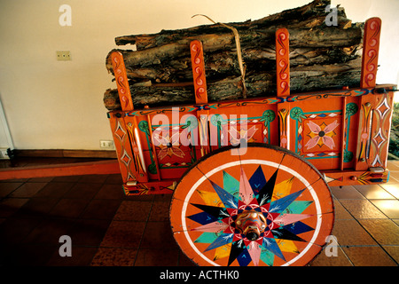 Traditional Costa Rican Ox Cart, Atenas, Costa Rica - Stock Photo