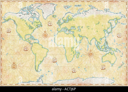World Map On Parchment - Stock Photo