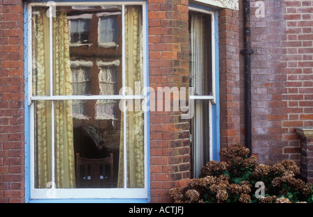 Old Wooden Sash Bay Window In Need Of Restoration Stock