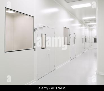 Pharmaceutical Biotech Sterile Clean Room Hallway, Philadelphia, USA - Stock Photo