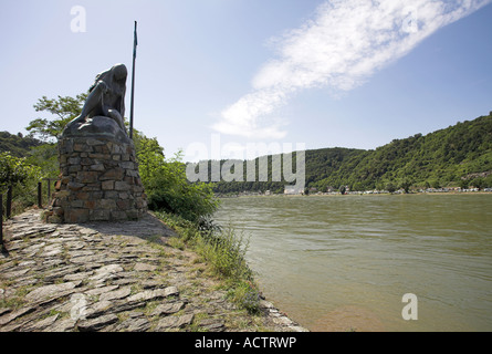 Sculpture of the Loreley siren on the riverbank near the town of St.Goarshausen. Middle-Rhine Valley, Germany. - Stock Photo