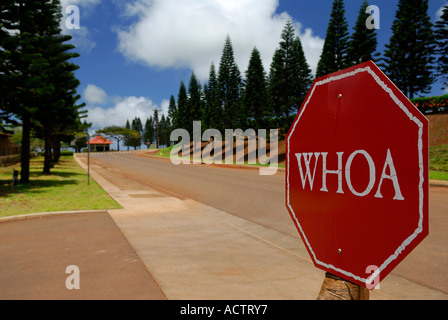 Red stop sign at Molokai Ranch that says WHOA - Stock Photo