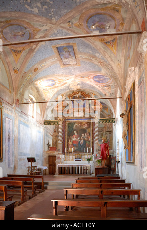The church on Isola Maggiore on Lake Trasimeno in Umbria  St Francis of Assisi lived on the island as a hermit from - Stock Photo