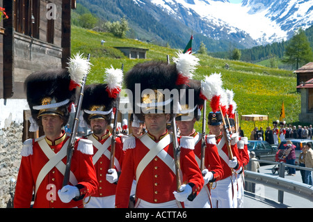 Grenadiers of the Lord Corpus Christi procession Wiler Valais Switzerland - Stock Photo