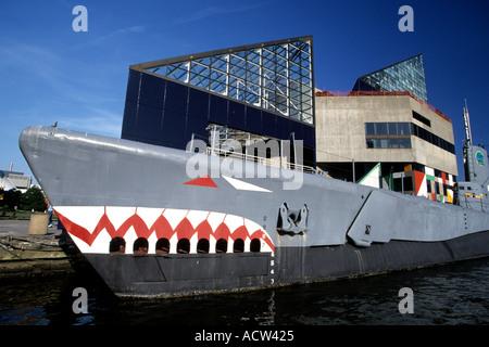 USS Torsk and National Aquarium Baltimore Maryland USA - Stock Photo