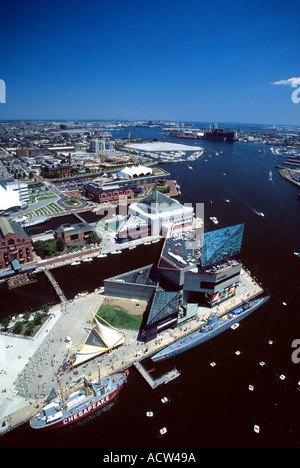 Aerial View of Baltimore Inner Harbor and National Aquarium Baltimore Maryland USA - Stock Photo