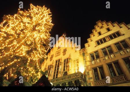 Romerberg Romer at night Frankfurt Germany - Stock Photo