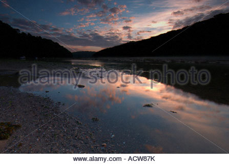 The Erme Estuary in the South Hams Devon just after the sun has risen - Stock Photo