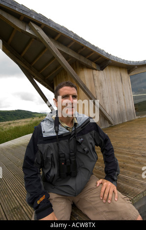 IOLO WILLIAMS television naturalist at Cors Caron nature reserve Tregaron Ceredigion mid wales - Stock Photo