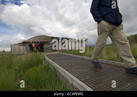 Cors Caron nature reserve Tregaron Ceredigion mid wales - hide observation building wooden architecture - Stock Photo