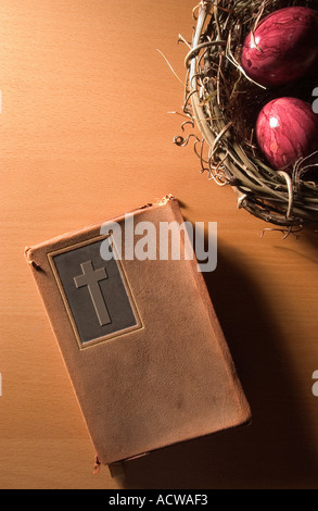 Bible and easter eggs - Stock Photo