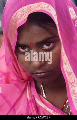 Woman behind a veil Delhi India - Stock Photo