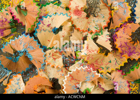 Color Pencil sharpening sawdust and Color wood shavings - Stock Photo