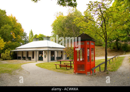 public library and telephone box in arrowtown new zealand - Stock Photo