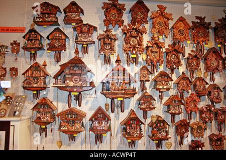 cuckoo clocks, German clocks in a souvenir shop, Germany, Baden Wuerttemberg, Black Forest, Heidelberg - Stock Photo