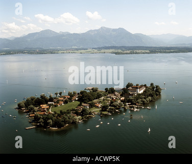 Frauenchiemsee, island in the Chiemsee, with the monastery Frauenwoerth, Germany, Bavaria Fraueninsel - Stock Photo