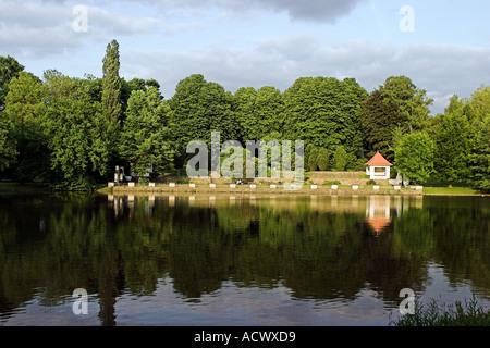 natural world scene in Kaiser Friedrich Park in Aachen Germany during summer 2005 - Stock Photo