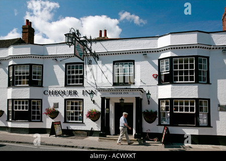 Front elevation of the Chequer Inn, High Street, Steyning, West Sussex, England, UK - Stock Photo