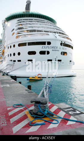 The Explorer of the sea cruise ship docked in St Marteen in the Carribean - Stock Photo