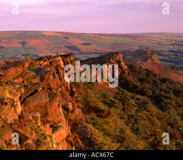 Evening Light on The Roaches and Hen Cloud Peak District National Park Near Leek Staffordshire UK - Stock Photo