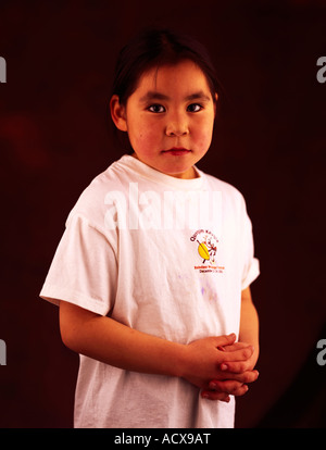 Young Native Alaskan Eskimo girl from Mekoryuk on Nunivak Island in the Bearing Sea in western Alaska, USA. - Stock Photo