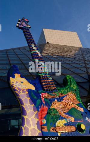 Jungle Jam guitar sculpture by Adriana Russo Caso at Guitar Mania 2004 at the Rock and Roll Hall of Fame and Museum - Stock Photo